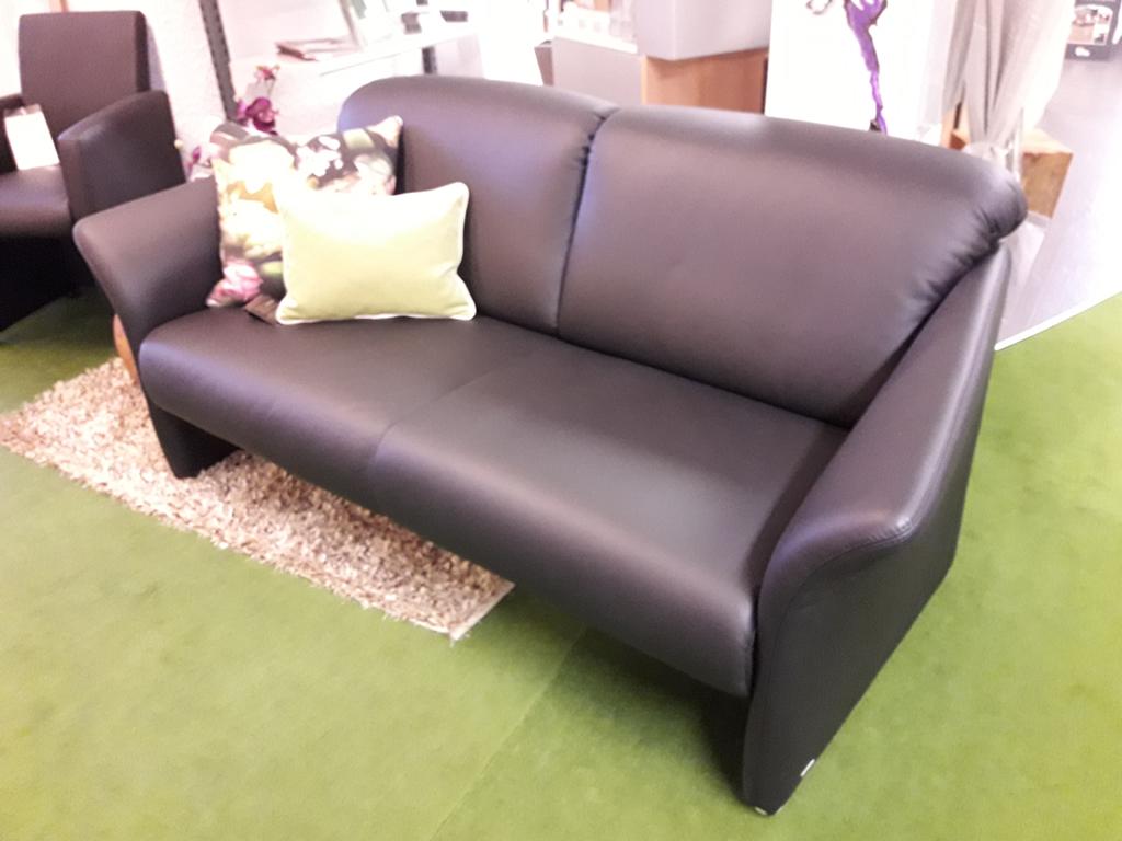 Einzelsofa Leder schwarz 2,5 Sitzer breit ca. 180 cm vorher