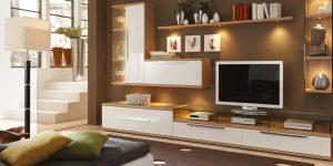 Wohnwand TV Lowboard weiss mit Holz