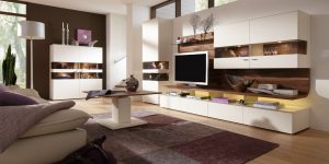TV-Bank Kombination mit indirekter Beleuchtung