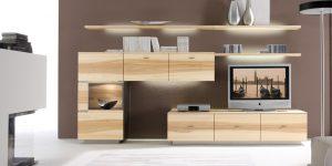 Wohnwand helles Holz