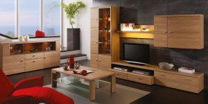 Wohnwand mit Holz