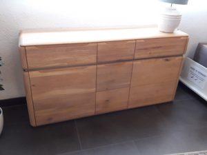 Sideboard Eiche mit Edelstahleinlage und gebürsteten Schubladenblenden breit 160 cm