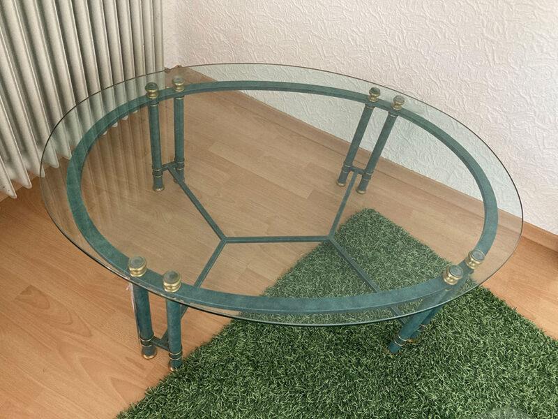 Glastisch oval, Gestell türkis patiniert
