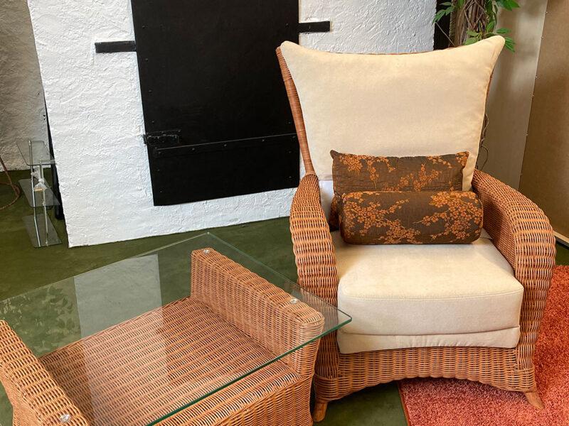 Rattan Sessel mit Kissen